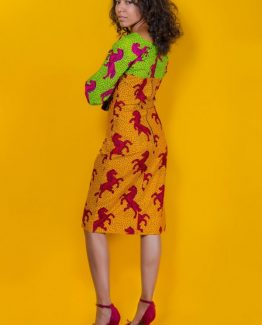 The Donyale Dress 3reec's Chic Creations and Collections Yellow Red Green Ankara Dashiki Kente African Print Ankarastyles Ethnic Tribal Midi Dress